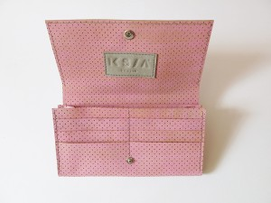 perforated leather wallet opened